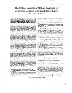 The critical amount of optical feedback, for coherence ... - IEEE Xplore