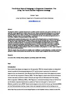 The Critical Role of Pedagogy in Plagiarism Prevention: The Unley