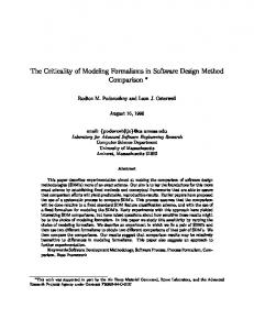 The Criticality of Modeling Formalisms in Software Design ... - CiteSeerX
