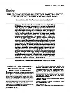 The Cross-Cultural Validity of Posttraumatic Stress Disorder