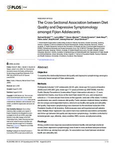 The Cross-Sectional Association between Diet Quality and ... - Plos