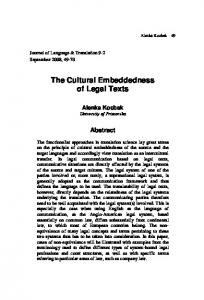 The Cultural Embeddedness of Legal Texts - Journal of Universal