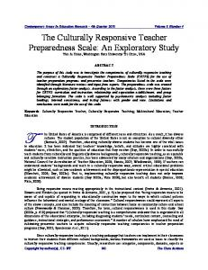 The Culturally Responsive Teacher Preparedness Scale - Eric