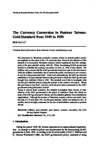 The Currency Conversion in Postwar Taiwan: Gold Standard from ...