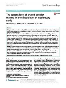 The current level of shared decision-making in anesthesiology - BMC ...