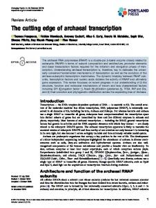 The cutting edge of archaeal transcription - Emerging Topics in Life ...