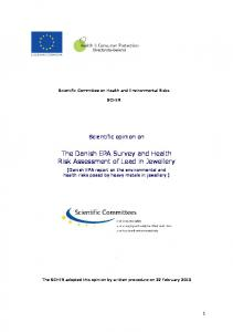 The Danish EPA Survey and Health Risk Assessment of lead