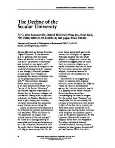 The Decline of the Secular University - Springer Link