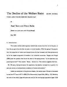 The Decline of the Welfare State: AGING, MIGRAM - CiteSeerX