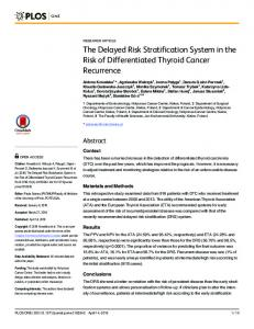The Delayed Risk Stratification System in the Risk of ... - PLOS