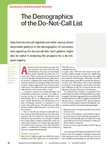 The Demographics of the Do-Not-Call List - CiteSeerX