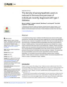 The density of parasympathetic axons is reduced in the exocrine ... - Plos