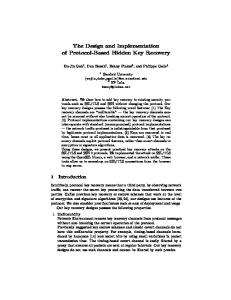 The Design and Implementation of Protocol ... - of Benny Pinkas