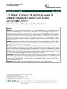 The design evolution of interbody cages in anterior ... - CyberLeninka