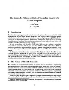 The Design of a Metaobject Protocol Controlling Behavior of a