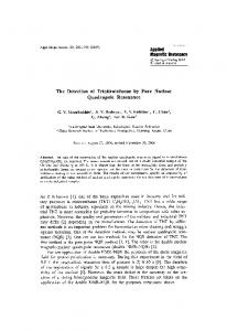 The detection of trinitrotoluene by pure nuclear ... - Springer Link