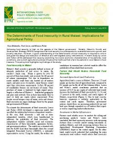 The Determinants of Food Insecurity in Rural Malawi