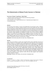The Determinants of Mutual Funds Success in Pakistan