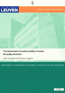The determinants of student mobility in Europe: the quality ... - CiteSeerX