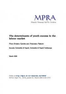 The determinants of youth success in the labour market