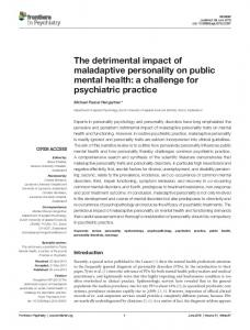 The detrimental impact of maladaptive personality ... - Semantic Scholar