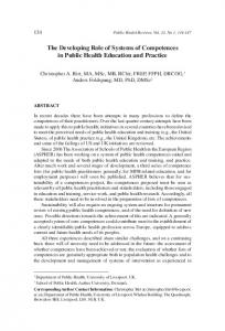 The Developing Role of Systems of Competences in Public Health ...