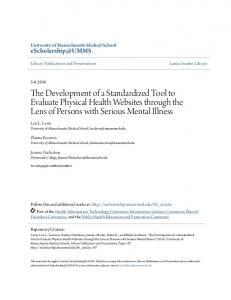 The Development of a Standardized Tool to Evaluate Physical Health ...