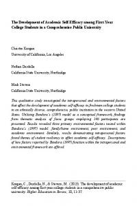 The Development of Academic Self-Efficacy among First-Year College ...