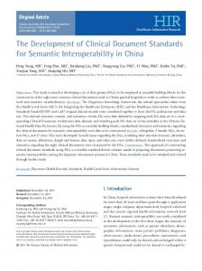 The Development of Clinical Document ... - KoreaMed Synapse