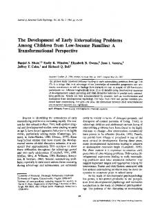 The Development of Early Externalizing Problems Among Children ...
