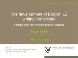 The development of English L2 writing complexity