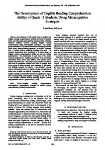 The Development of English Reading Comprehension Ability ... - ijssh