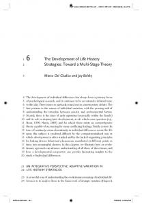 The Development of Life History Strategies: Toward a Multi-Stage ...