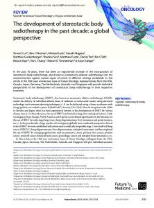 The development of stereotactic body radiotherapy ... - Future Medicine