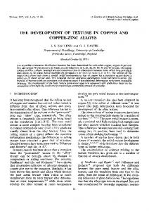 the development of texture in copper and copper-zinc alloys