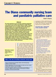 The Diana community nursing team and paediatric palliative care