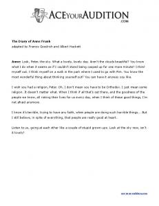 The Diary of Anne Frank adapted by Francis ... - Ace Your Audition