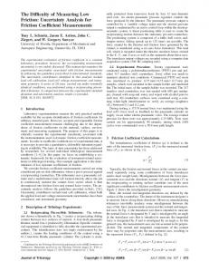 The Difficulty of Measuring Low Friction ... - University of Florida