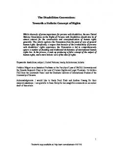 The Disabilities Convention: Towards a Holistic ... - SSRN papers