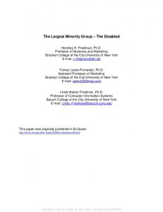 the Disabilities Market - SSRN papers