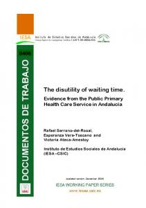 The disutility of waiting time. - Core
