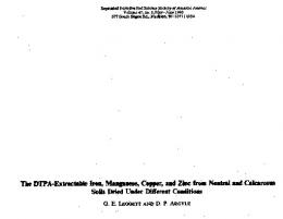 The DTPA-Extraciabie Iron, Manganese, Copper, and Zinc ... - CiteSeerX