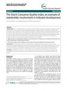 The Dutch Consumer Quality Index: an example of stakeholder ...