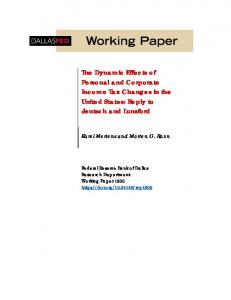 The Dynamic Effects of Personal and Corporate Income Tax Changes ...