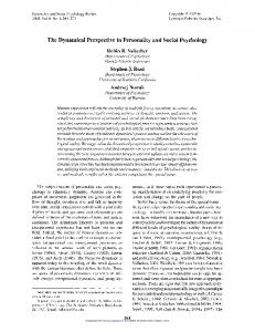 The Dynamical Perspective in Personality and Social Psychology