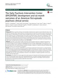 The Early Psychosis Intervention Center (EPICENTER): development ...