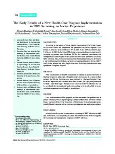 The Early Results of a New Health Care Program ... - Semantic Scholar