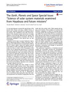"The Earth, Planets and Space Special Issue: ""Science of solar system ..."