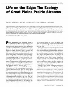 The Ecology of Great Plains Prairie Streams - Kansas State University