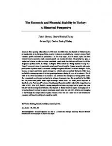 The Economic and Financial Stability in Turkey: A Historical ... - NBS